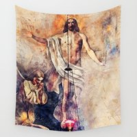 christ Wall Tapestries featuring  Jesus Christ by jbjart