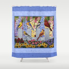 Spring Garden Party Birds and Flowers Shower Curtain