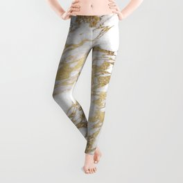 Chic Elegant White and Gold Marble Pattern Leggings