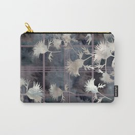 Thistle Flower Felted Plaid Pattern Carry-All Pouch