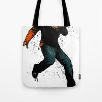 onward Tote Bags featuring Onward Ever Downwards by Matthew Dunn