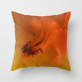 Columbine Flower Edited Orange Throw Pillow