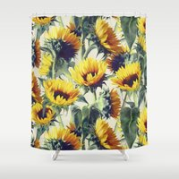 sunshine Shower Curtains featuring Sunflowers Forever by micklyn