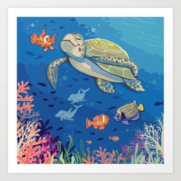 Under the Sea and Above the Coral Art Print
