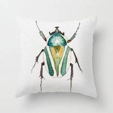 Beetle Watercolor II Throw Pillow