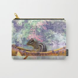 Chipmunk Paddling a Canoe A185 Carry-All Pouch