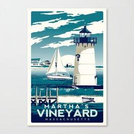 martha's vineyard vintage lighthouse print Canvas Print