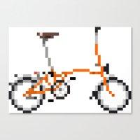 brompton Canvas Prints featuring Pixel Art Brompton bicycle - Orange by PixelArtM