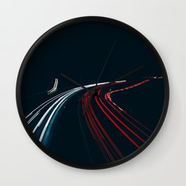 Long exposure traffic line at night Wall Clock