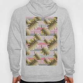 Tropical gold cheese leaves pastel color stripes Hoody