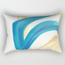Vanilla in the Leaves 1 - Abstract painting in modern bright blue, cream and soft yellow Rectangular Pillow