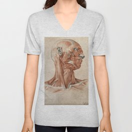 Vintage reproduction - Muscles and tendons of the head and neck: écorché figure. Red chalk and pencil drawing by A. Durelli, 1837 Unisex V-Neck