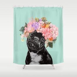 French Bulldog with Flowers Crown in Green Shower Curtain