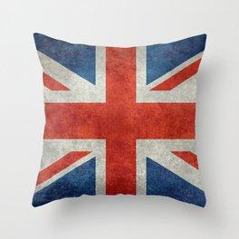 "UK Union Jack flag ""Bright"" retro grungy style Throw Pillow"