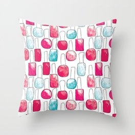 Nail Polish | Duck Egg and Cherry Red Pattern Throw Pillow