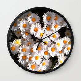 Brilliant White Daisies On Black Floral Art Wall Clock