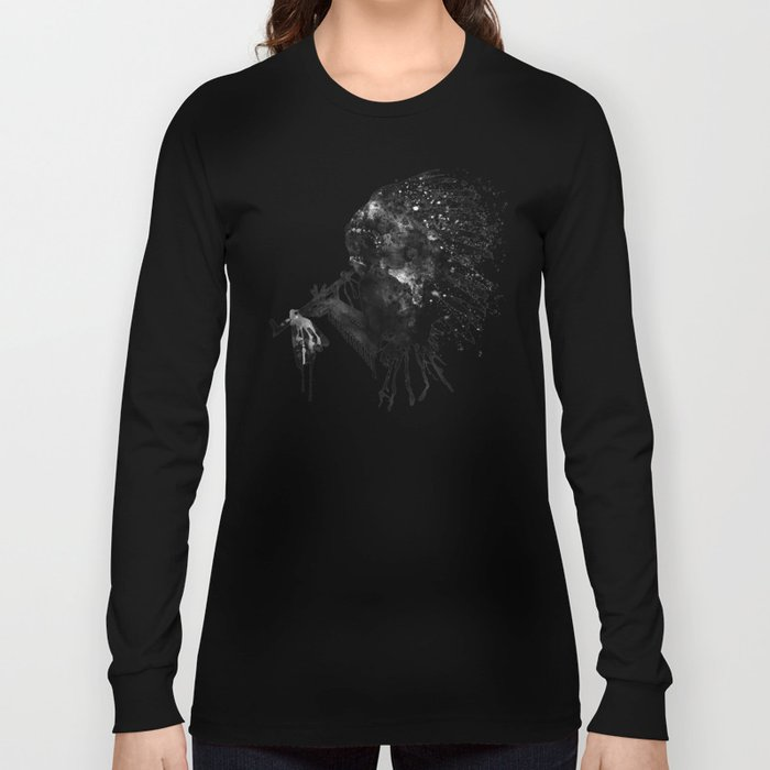 Indian with Headdress Black and White Silhouette Long Sleeve T-shirt