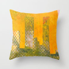 Yellow City Throw Pillow