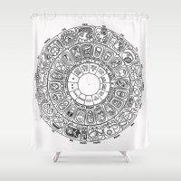 calendar Shower Curtains featuring Mayan Calendar by Mantis Galleries