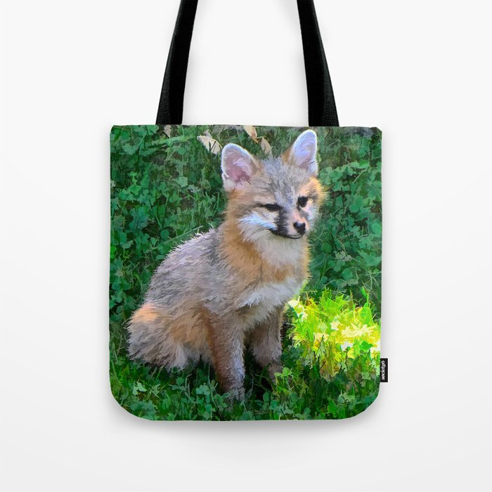 Little Grey Fox Tote Bag