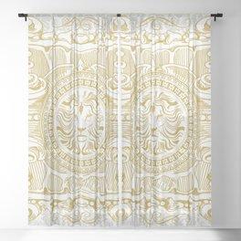 Medallion Lion Vintage Renaisance White Gold Sheer Curtain