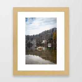 Beautiful scene of swan (lat. Cygnus olor) on the lake Framed Art Print