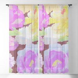 Dark and Romantic Vintage Retro Inspired Maroon Peonies Floral Flowers Sheer Curtain