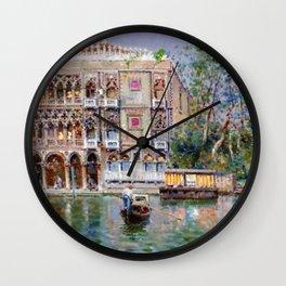 Palazzo Santa Sofia, Grand Canal, Venice Italy Landscape by Antonio Reyna Manescau Wall Clock