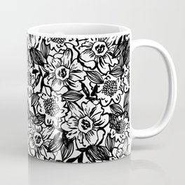 Ella - abstract floral flowers minimal modern black and white girly gender neutral boho painting Coffee Mug
