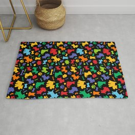 Colorful Dogs Pattern on Black Background Rug
