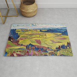 Chamonix Valley and Snow-capped French Alps landscape by Cuno Amiet Rug