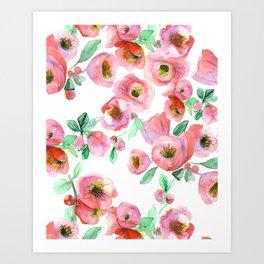 Floral Print Pink Chaenomeles Art Print