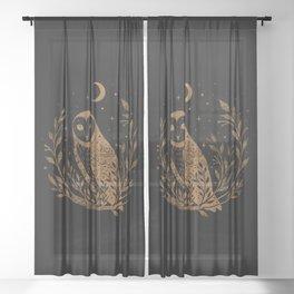 Owl Moon - Gold Sheer Curtain