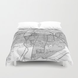 Vintage Map of Ottawa Canada (1915) BW Duvet Cover
