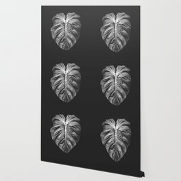 Monstera Deliciosa Black and White Wallpaper