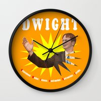 dwight schrute Wall Clocks featuring Dwight Schrute  |  The Office by Silvio Ledbetter