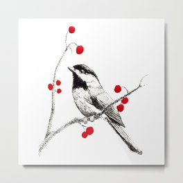 Chickadee in Cherry Tree Metal Print