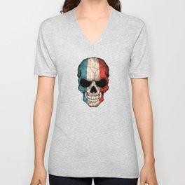 Dark Skull with Flag of France Unisex V-Neck