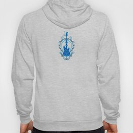 Intricate Blue and Black Bass Guitar Design Hoody