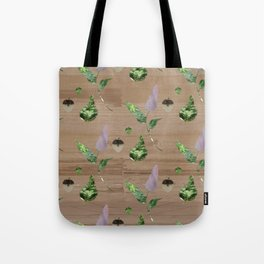 Floral Pattern on Wooden Table Tote Bag