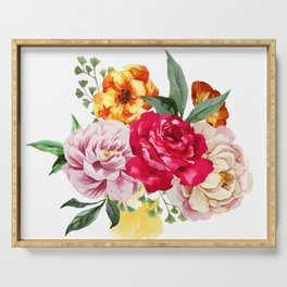 Watercolor Spring Flowers Serving Tray