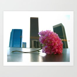 Flower in the LA Skyline Art Print
