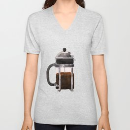 French Press - Brown Unisex V-Neck