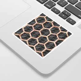 Black campari marble & copper honeycomb Sticker