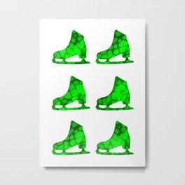 Watercolor Figure Skates (Green) Metal Print
