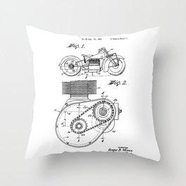 Motorcycle Patent Art Throw Pillow