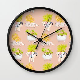 Kawaii dog cat hedgehog succulents Wall Clock
