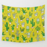 dessert Wall Tapestries featuring Botanical dessert cactus pattern by Little Smilemakers Studio