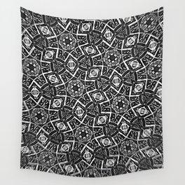 Blurry Moorish Nights: Black and White Wall Tapestry
