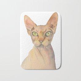 Sphynx Cat Watercolor Portrait Bath Mat